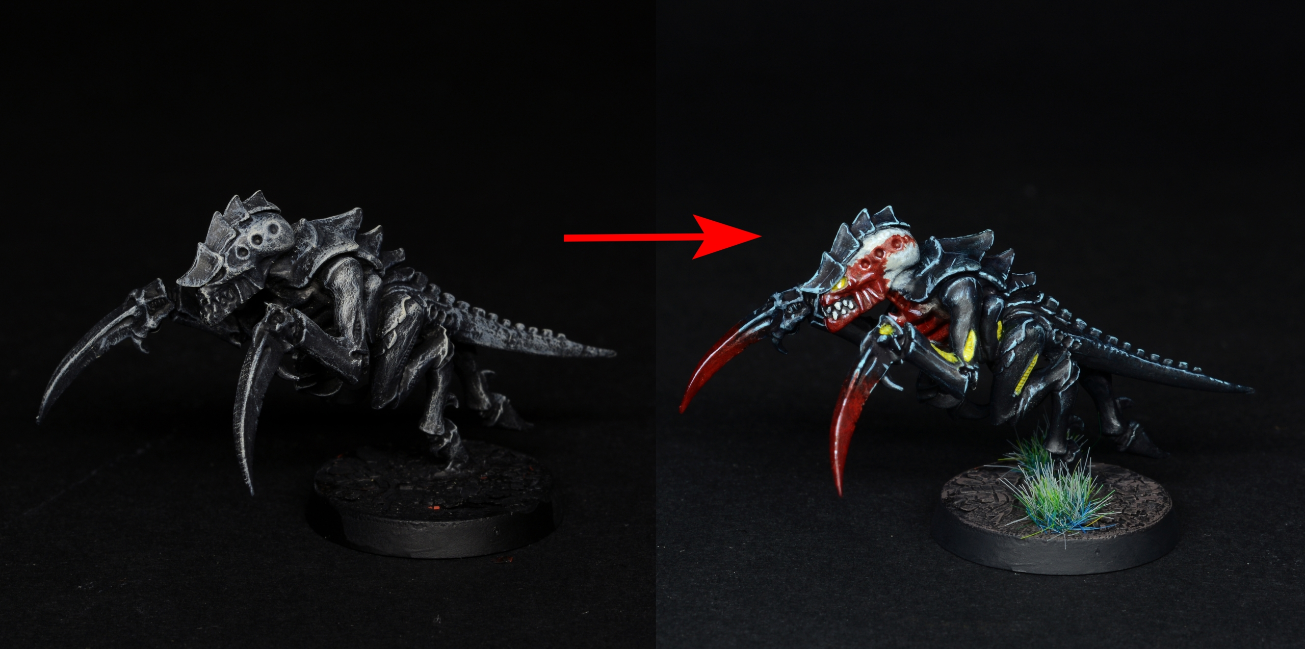 Tutorial: painting Tyranids with 3rd edition color scheme, tabletop quality.