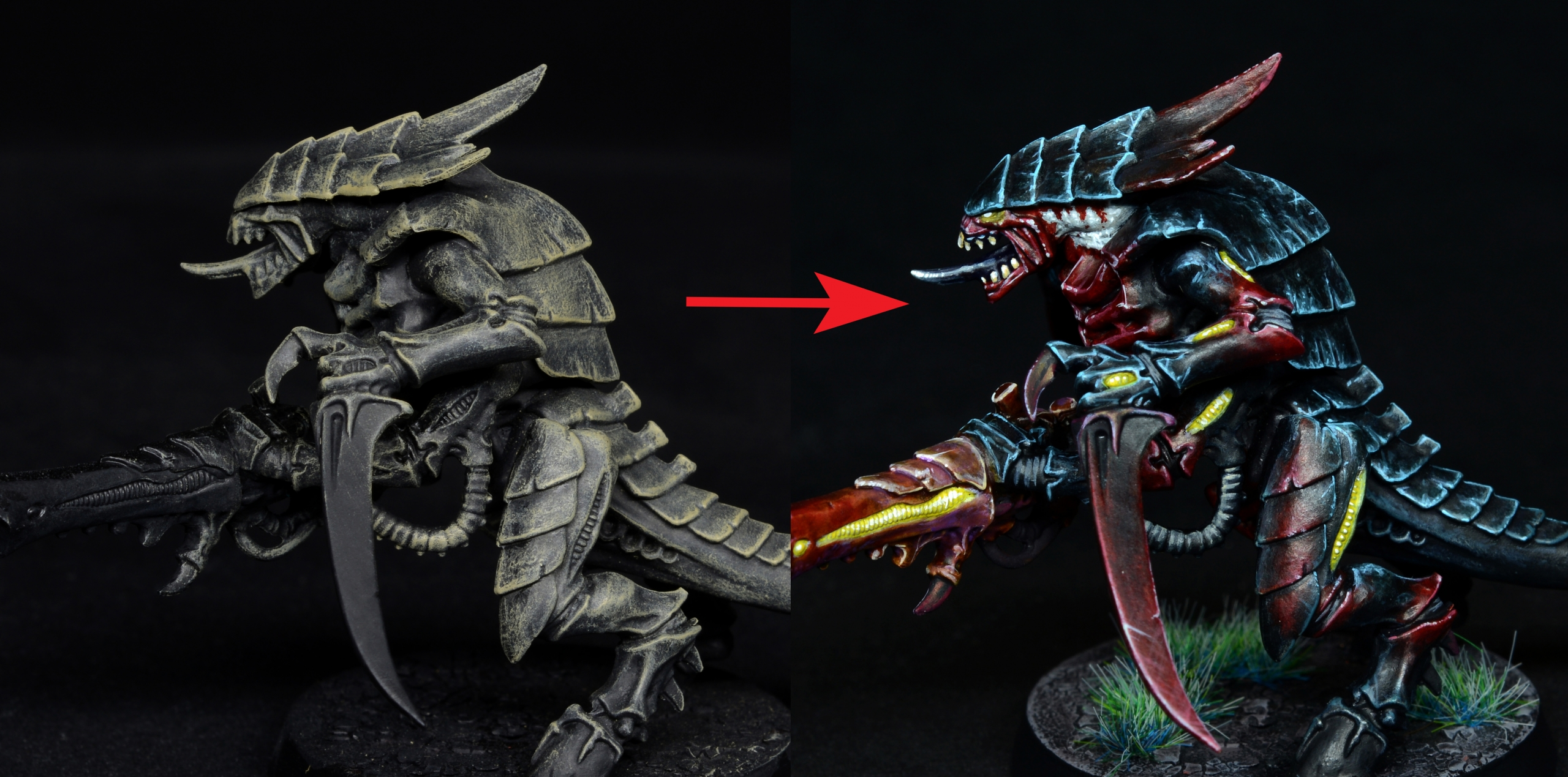 Tutorial: painting Tyranids with 3rd edition color scheme, high tabletop quality.